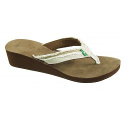 Sanük Fraidy wedge tan stripes women's slipper