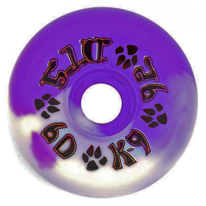 Dogtown K-9 80's 60 mm 99a skateboard wheels white purple-swirl