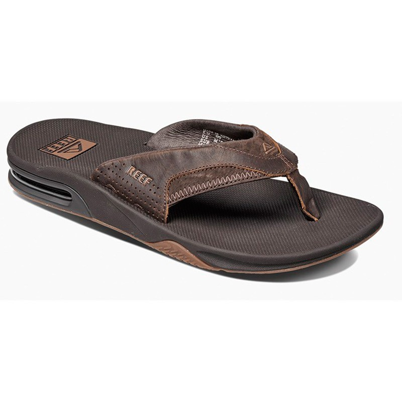 Reef Leather Fanning slippers dark brown