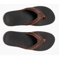 Reef Leather Ortho coast slippers zwart-bruin
