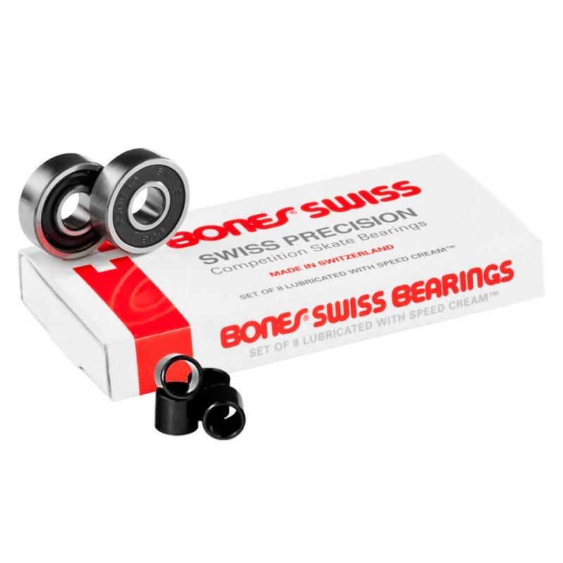 Bones Swiss bearings with black spacers (8 pack)