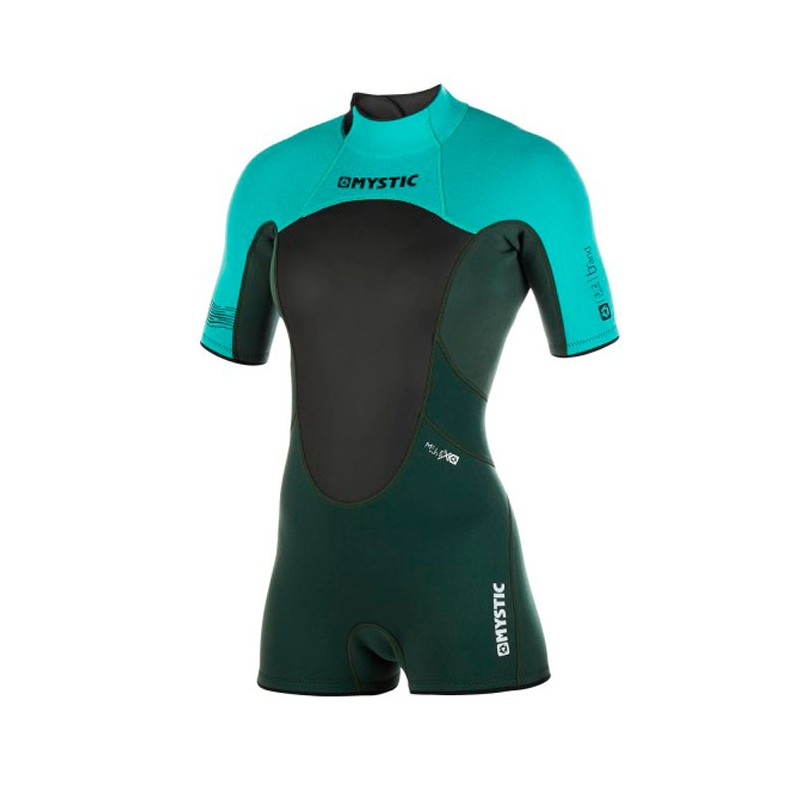 Mystic Brand shorty 3/2 mm backzip flatlock ladies teal